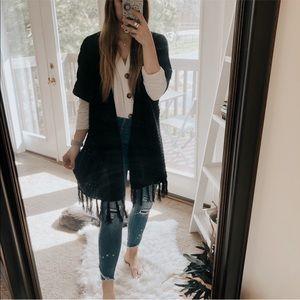Massini Black Fringe Sleeveless Knit Cardigan